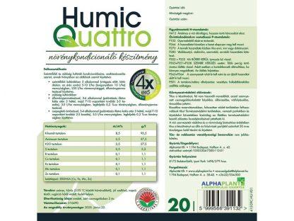 HumicQuattro növénykondícionáló készítmény- 20 liter, címke