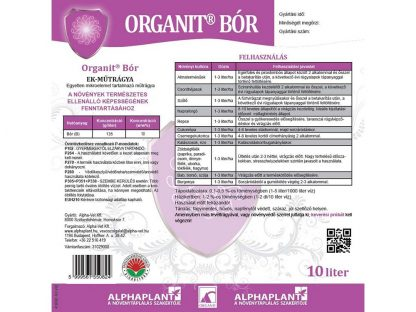 Organit Bór lombtrágya - 10 liter, címke