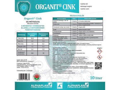 Organit Cink lombtrágya - 10 liter, címke