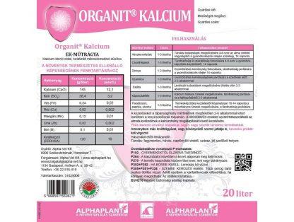Organit Kalcium - 20 liter, címke
