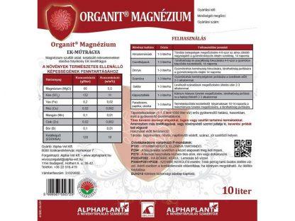 Organit Magnézium lombtrágya -10 liter, címke