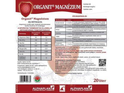 Organit Magnézium lombtrágya - 20 liter, címk