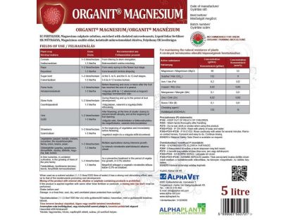 Organit Magnezium - 5 liter, címke