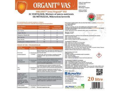 Organit vas lombtrágya - 20 liter, címke