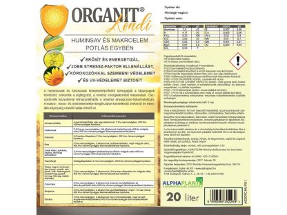 Organit Kondi növénykondícionáló készítmény – 20 liter, címke