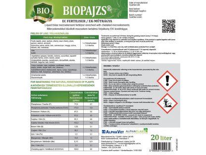 Biopajzs bio lombtrágya - 20 liter, címke