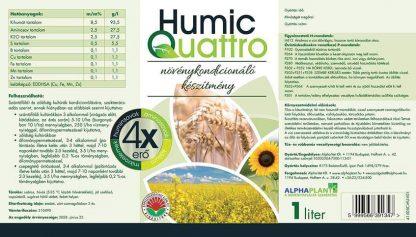 HumicQuattro növénykondícionáló készítmény- 1 liter, információk